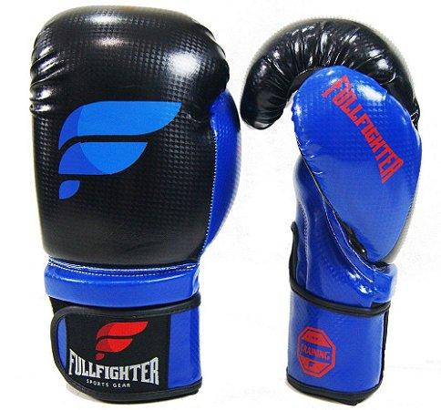 Luva Boxe Carbon Preta c/ Azul - Full Fighter