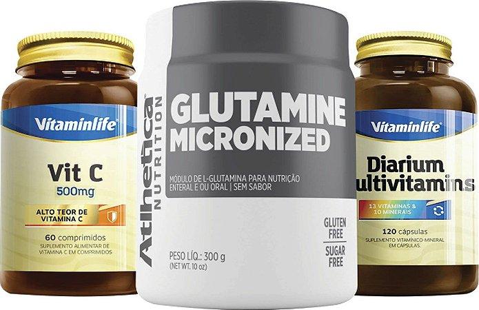 Kit Imunidade: Glutamine Micronized 300g Atlhetica + Vit C 500mg Vitaminlife + Diarium Multivitamins 120caps Vitaminlife