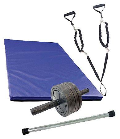 Kit treino masculino Elástico extensor + Colchonete 40x90 + Roda abdominal + Polibarra