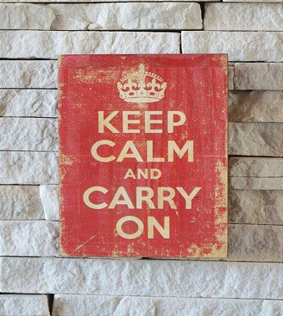 Quadro de Madeira Estonada Keep Calm