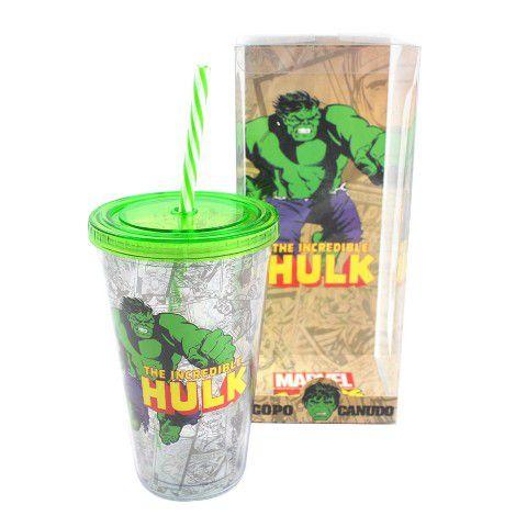 Copo com Canudo Incrível Hulk