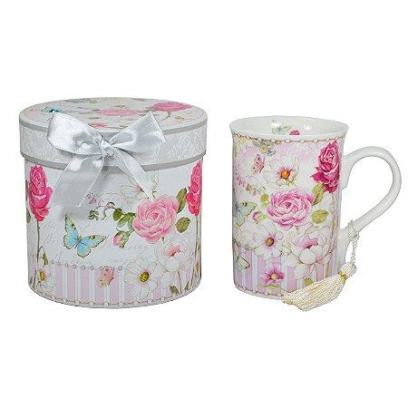 Caneca de Porcelana Mini Rosas e Borboletas com Pingente