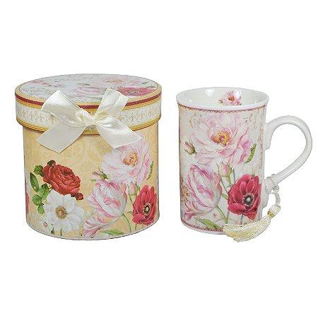 Caneca de Porcelana Flores Silvestres com Pingente