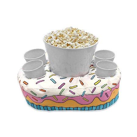 Almofada Porta Pipoca com Porta Copos Cupcake