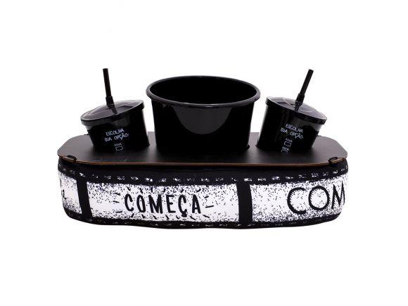 Almofada Porta Pipoca com Copos Cinema