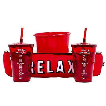 Almofada Porta Pipoca com Copos Relax