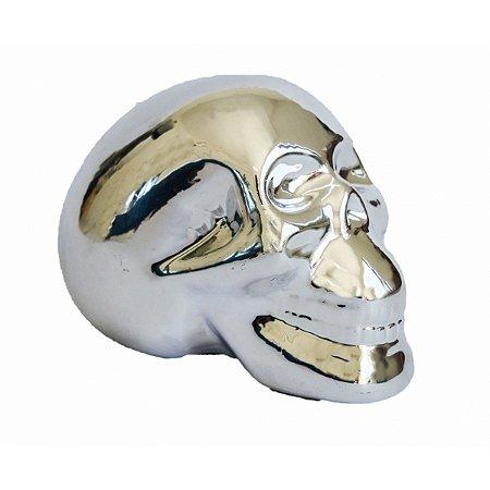 Cofre Cerâmica Metalizado - Caveira Prata