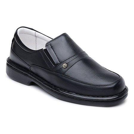 Sapato Casual Confortável Masculino Elástico nas Laterais Preto