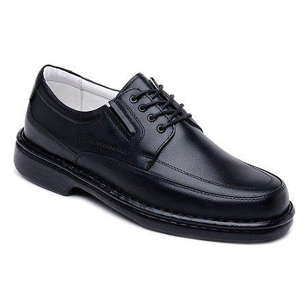 Sapato Casual ClaCle Conforto Masculino Preto com Cadarço