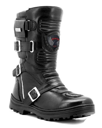 Bota Shoes Motociclista Atron On-Road Adventure Couro Preto