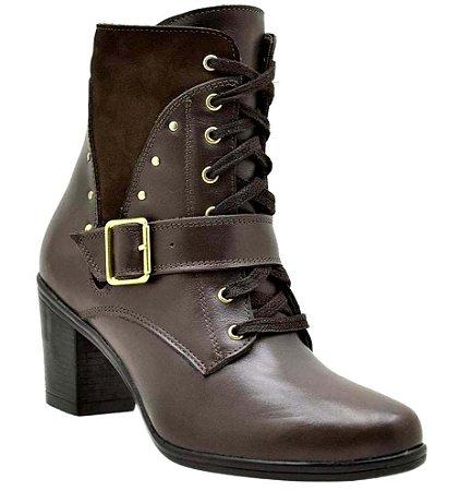 Bota Feminina Ankle Boots Couro Marrom