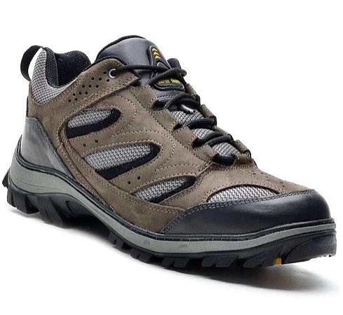 Tênis Adventure Atron Shoes Cano Baixo Couro Cinza
