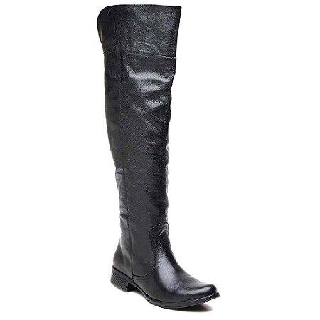 Bota Feminina Over The Knee Cla Cle Couro Marrom ou Preto