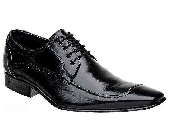 Sapato Social com Cadarço Couro Preto Clássico