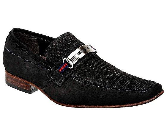Sapato Casual Bigioni Couro Nobuck Aveludado Preto
