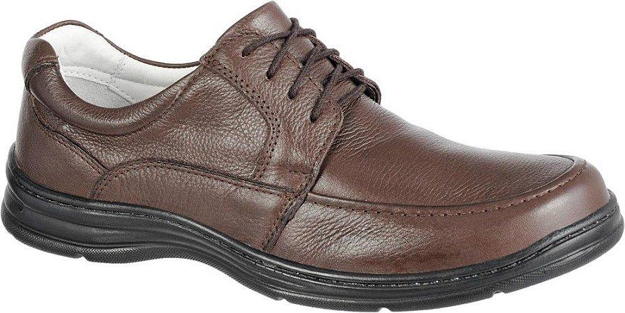 Sapato Confortável com Cadarço Couro Marrom