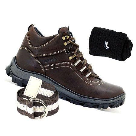 Kit Bota Adventure Atron Shoes Masculina Couro Marrom Com Cinto e Meia Lupo
