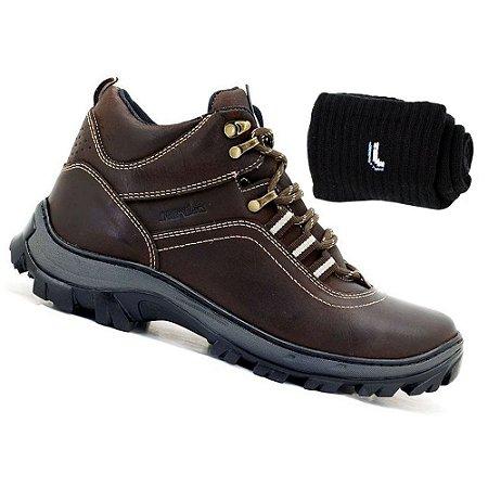 Kit Bota Adventure Atron Shoes Masculina Couro Marrom Com Meia Lupo