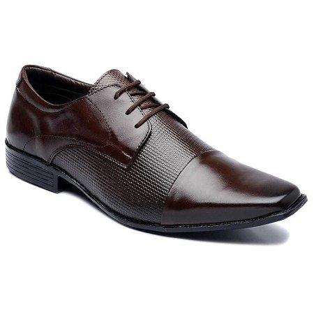 Sapato Social MasculinoCouro Marromcom Cadarço