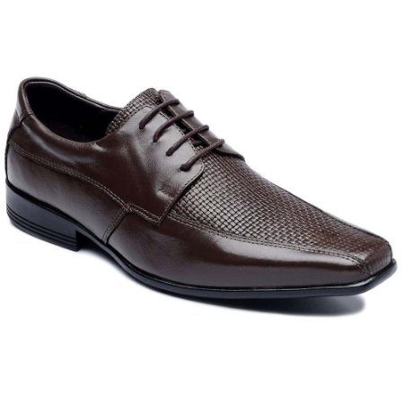 Sapato Social Couro Com Cadarço Marrom