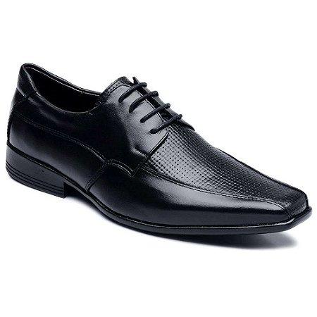 Sapato Social Couro Com Cadarço Preto