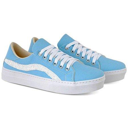 Tênis Feminino Azul Torani com Glitter
