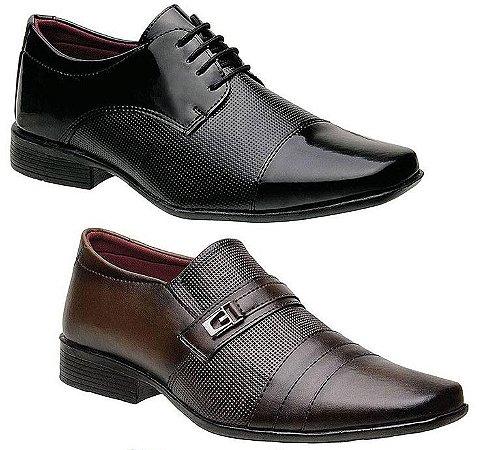 Kit 2 Pares Sapatos Sociais Masculinos Torani Viterbo