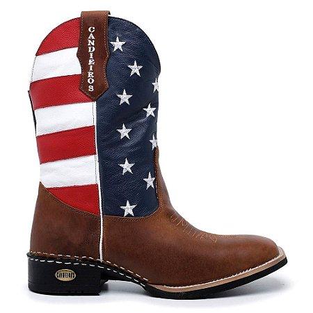 Bota Country Texana Masculina Couro Bandeira EUA