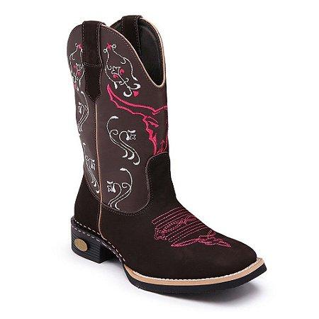 Bota Country Texana Cano Alto Couro Nobuck Feminina
