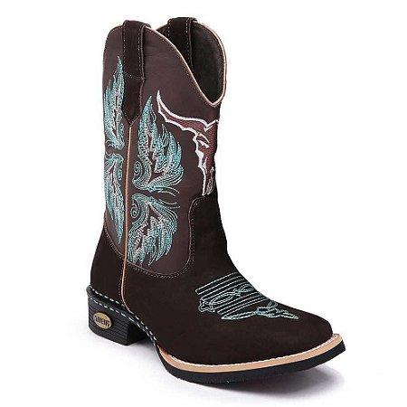 Bota Country Texana Masculina Cano Alto Couro Marrom
