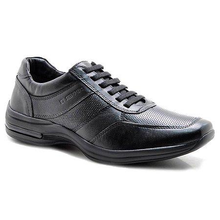 Sapato Masculino Pipper Cadarço Elástico Couro Preto