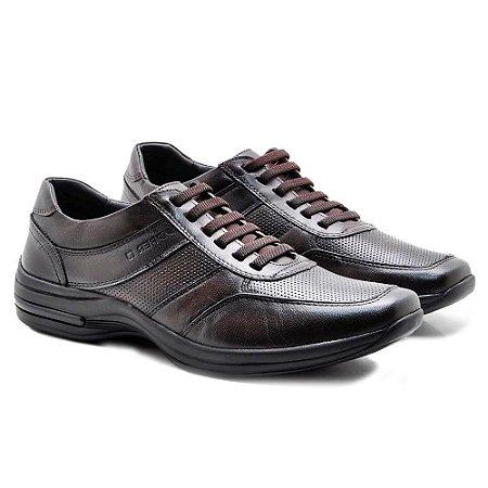 Sapato Masculino Pipper Comforto Couro Marrom