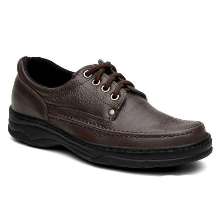 Sapato Masculino Confortável Torani Cadarço Marrom