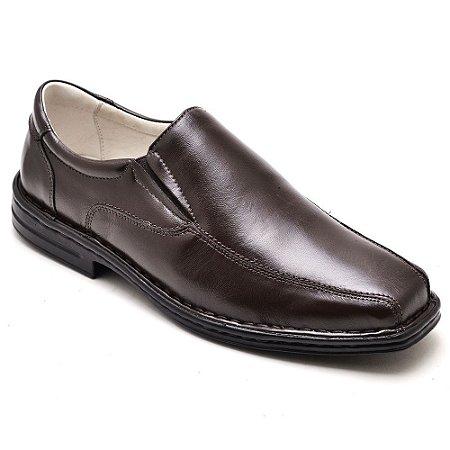 Sapato Conforto Masculino Couro Marrom
