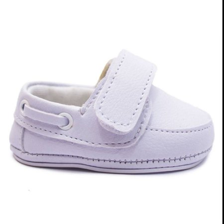 Sapatinho Bebê  Branco Menino Mocassim Confortável