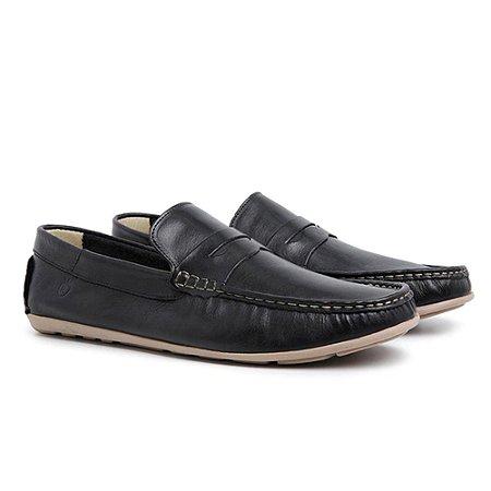 Sapato Mocassim Masculino em Couro Preto