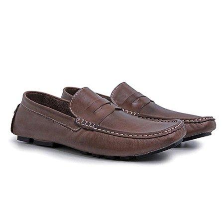 Sapato Masculino Drive em Couro Marrom Confortável