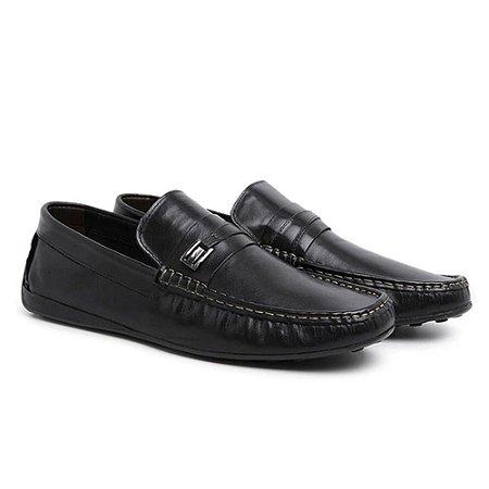 Sapato Mocassim Masculino em Couro Legítimo Preto