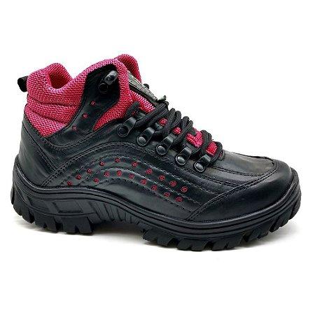 Bota Adventure Feminina Couro Legítimo Preto Trilhas Trekking Caminhadas