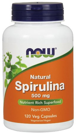 Natural Spirulina 500 mg 120 Veg Capsules NOW Foods