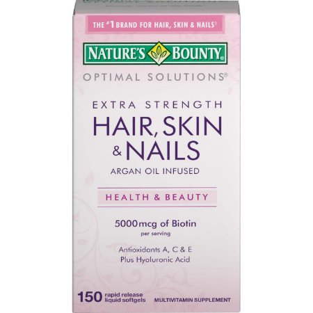 Hair Skin Nails Extra Strength -150 Softgels NATURES Bounty Optimal Solutios
