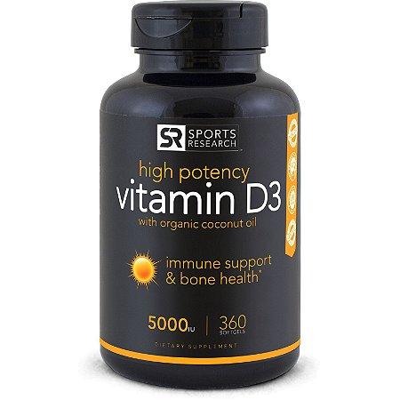 Vitamina D3 5000 IU 360 Softgels SPORTS Research