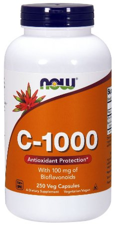 Vitamina C 1000 250 Veg Caps com 100mg Bioflavonoids NOW Foods