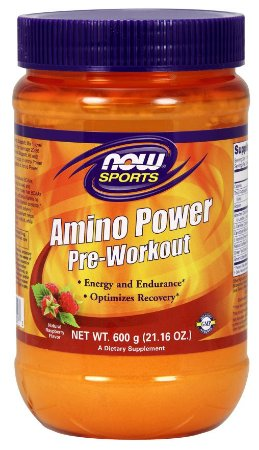 Amino Powder Pre Workout  600g - Natural Raspberry NOW Foods