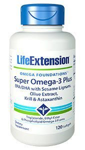 Super Omega 3 PLUS - EPA / DHA com Sesame Lignans & Olive Extract, Krill e Astaxantina 120 caps LIFE Extension