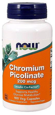 Chromium Picolinate Picolinato de Cromo 200 mcg 100 Veg Capsules NOW Foods