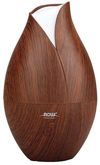 Difusor Ultrasonic Faux Wood Essential Oil NOW Foods FRETE GRATIS
