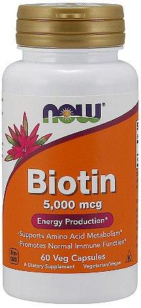 Biotin 5000 mcg  60 Veg Capsules NOW Foods