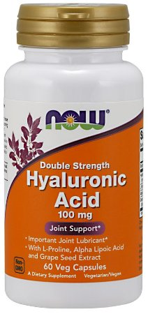 Hyaluronic Acid Ácido hialuronico Double Strength 100 mg 60 Veg Capsules NOW foods
