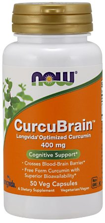 CurcuBrain 400 mg 50 Veg Capsules NOW Foods